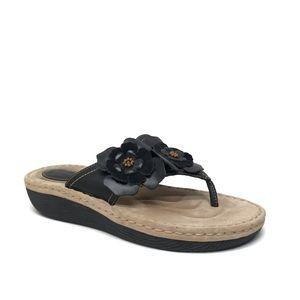 CLARKS Artisan Black Leather / Flowers Sandals 10